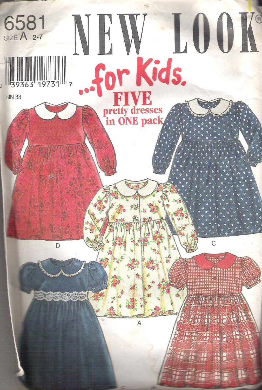 New Look for Kids 6581 Pattern Girls Dress  Size 2 - 7   Cut to 5