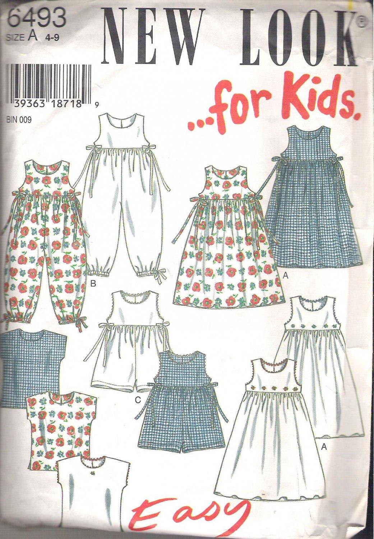 New Look for Kids 6493 Pattern Girls Dress Short Romper Long Romper Top  Size 4-9  Cut to 6