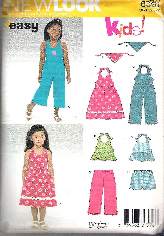 New Look 6361 Kids! Pattern Girls Halter Dress Top Jumper Capri Pants Shorts  Size 3-8  Uncut