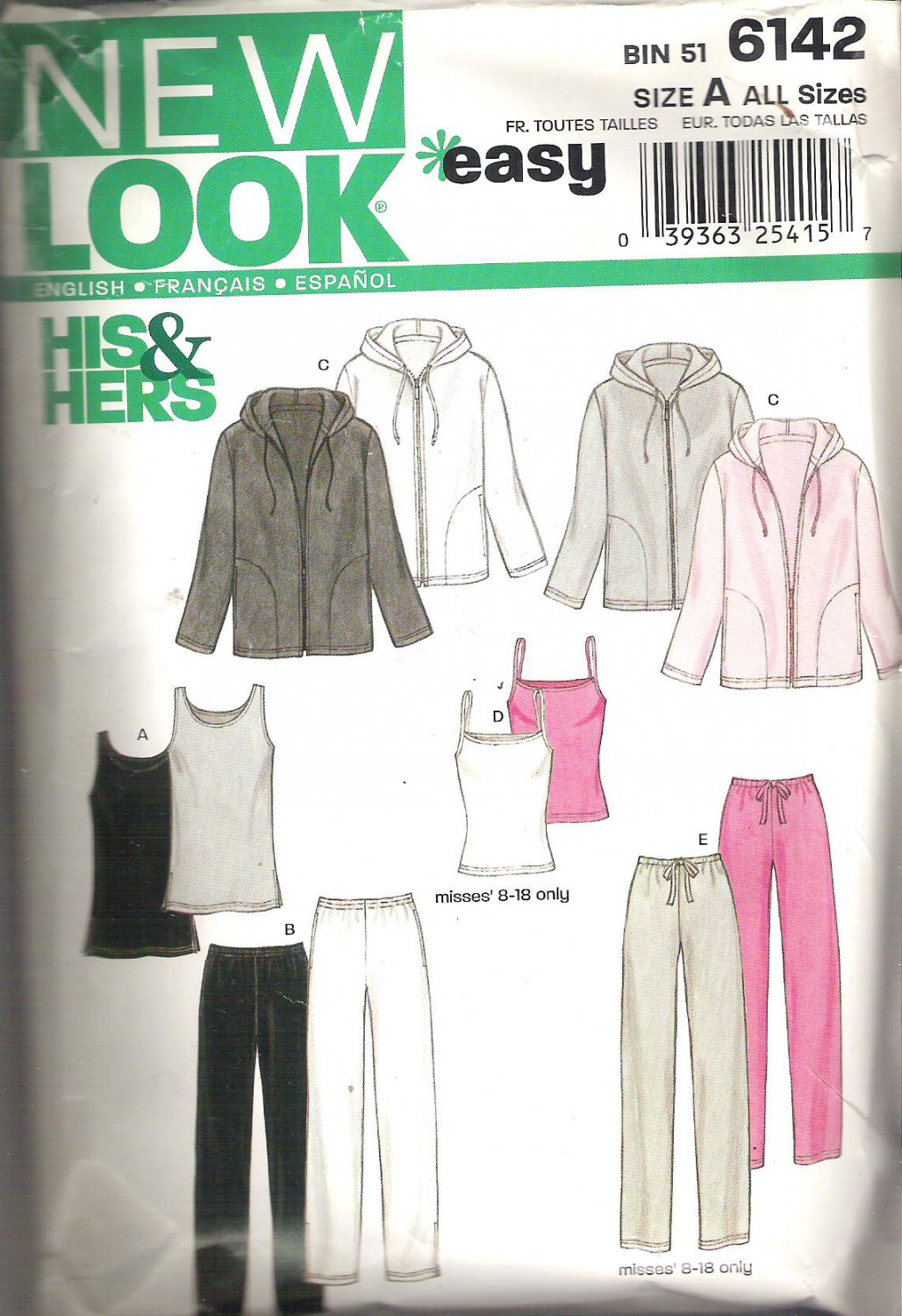 New Look 6142 Pattern His & Hers Hoodie Tank Top Camisole Pants  XS-XL Part Cut to XL