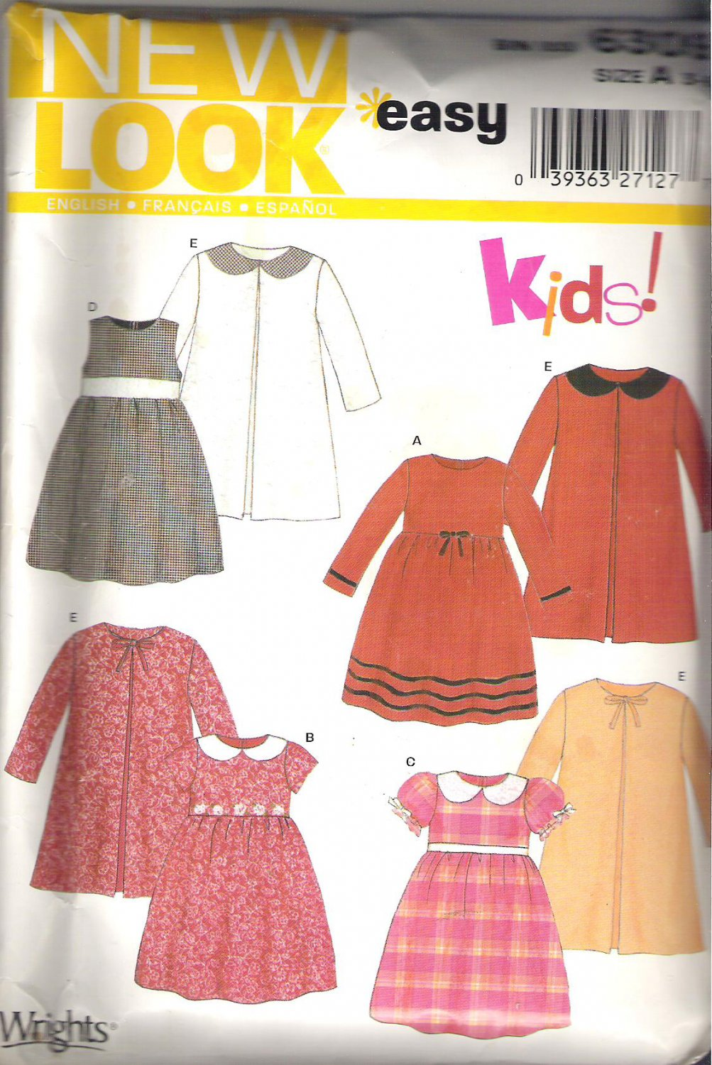 New Look 6309 Girls Vintage Look Pattern Dress Coat  Size 3-8 Partial Cut to 6