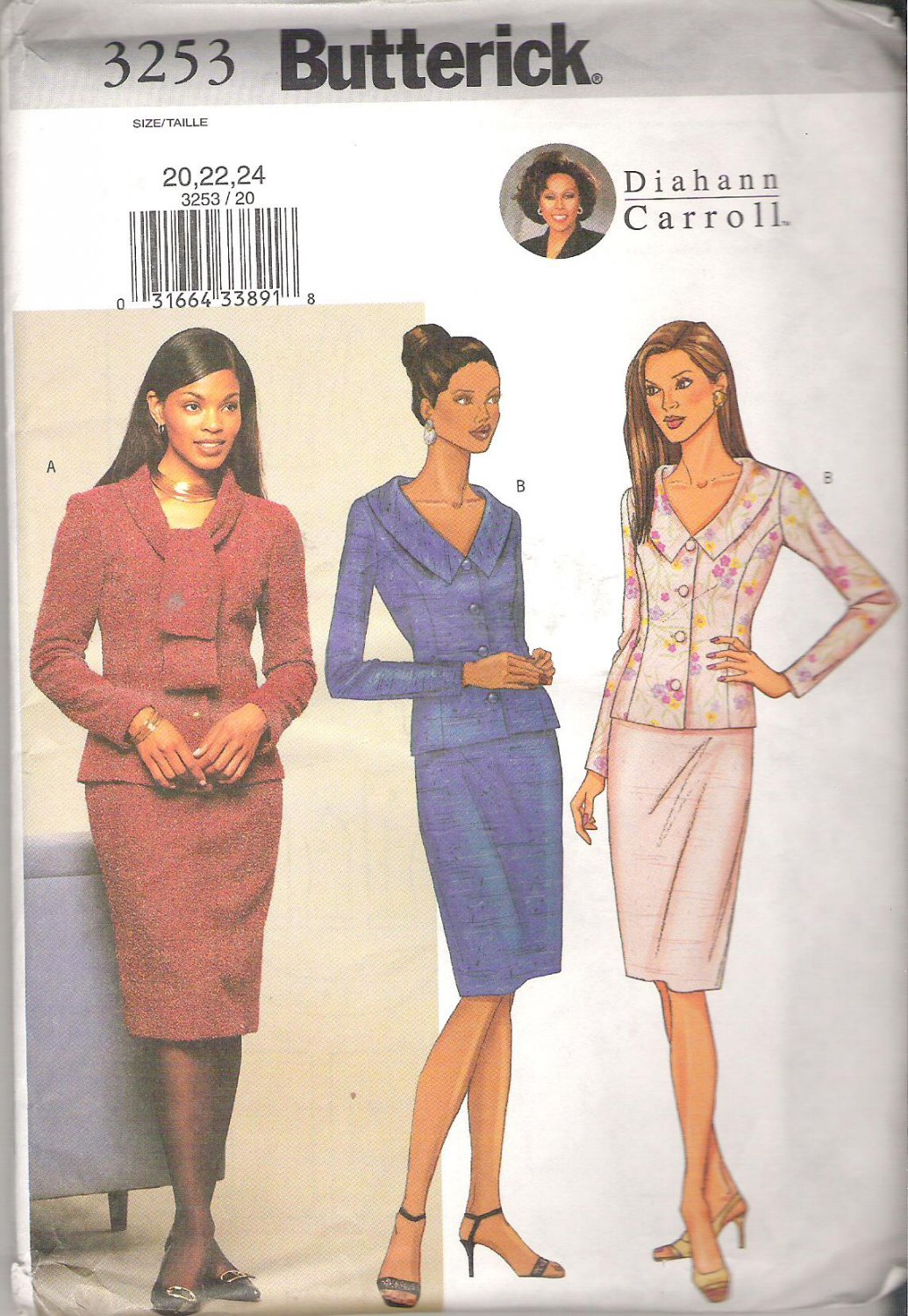Butterick 3253 (2001) Diahann Carroll Petite Pattern Top Skirt  Size 20, 22, 24 Uncut