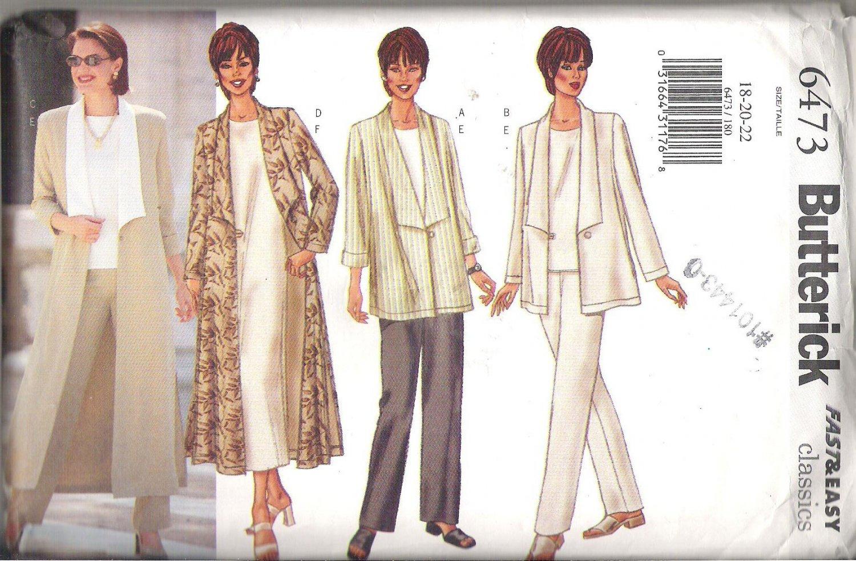 Butterick 6473 (2000) Misses/Petite Plus Size Pattern Jacket Duster Top Dress Pants 18-22  Uncut