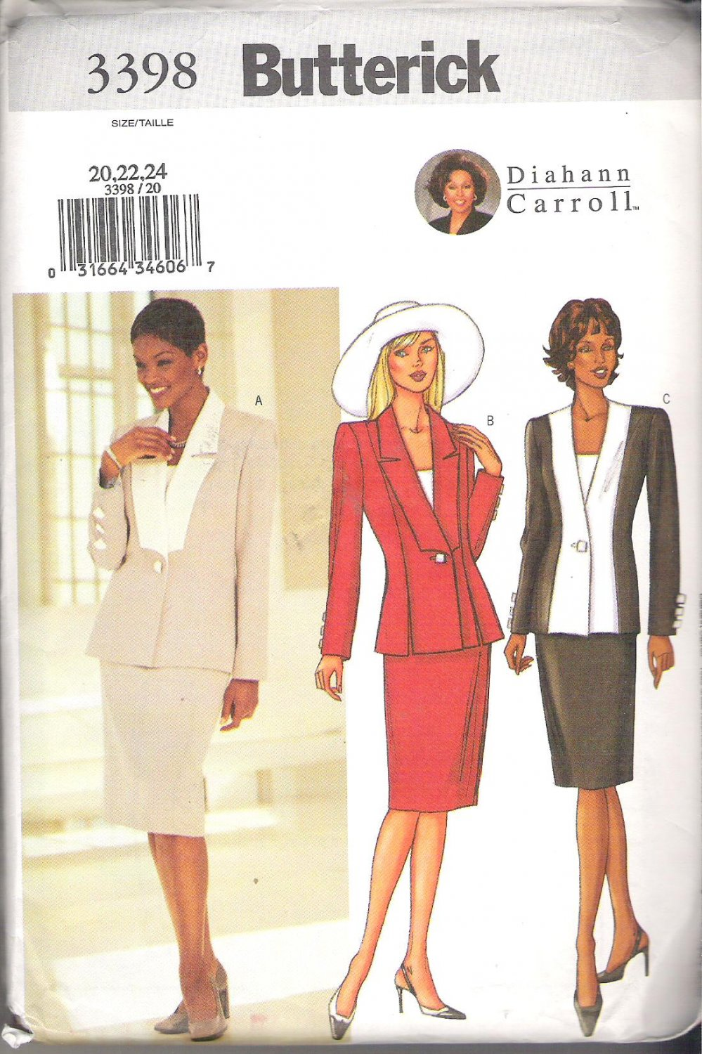 Butterick 3398 (2002) Diahann Carroll Plus Size Misses/Petite Pattern Jacket Top Skirt  20-22  Uncut