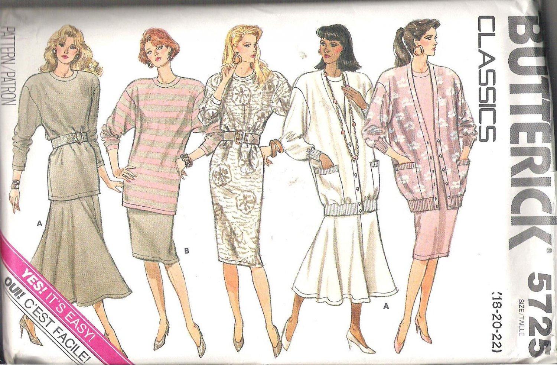 Butterick 5725 (1987) Misses/Petite Vintage Plus Size Pattern Cardigan Top Skirt Dress  18-22  Uncut