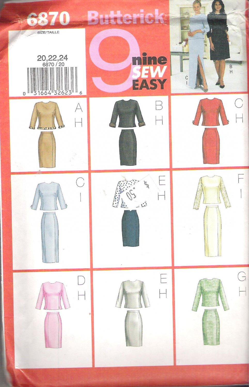 Butterick 6870 (2001) Pattern Misses/Petite Plus Size Top Skirt  20-24  Uncut