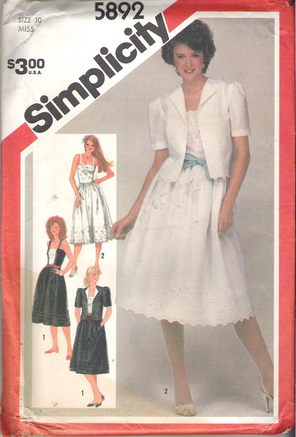 Simplicity 5892 Pattern Fitted Sundress and Unlined Jacket  Size 10  Uncut