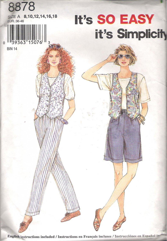 Simplicity 8878 (1996) Pattern Pants Shorts Vest  Size 8-18 Partial Cut to 12