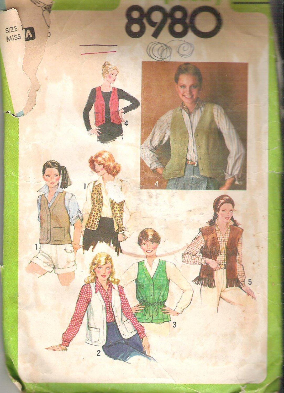 Simplicity 8980 (1979) Vintage Pattern Vests  Size 10  Partial Cut