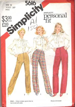 Simplicity 5616 (1982) Pattern Personal Fit Proportioned Pants  Size 14  Uncut