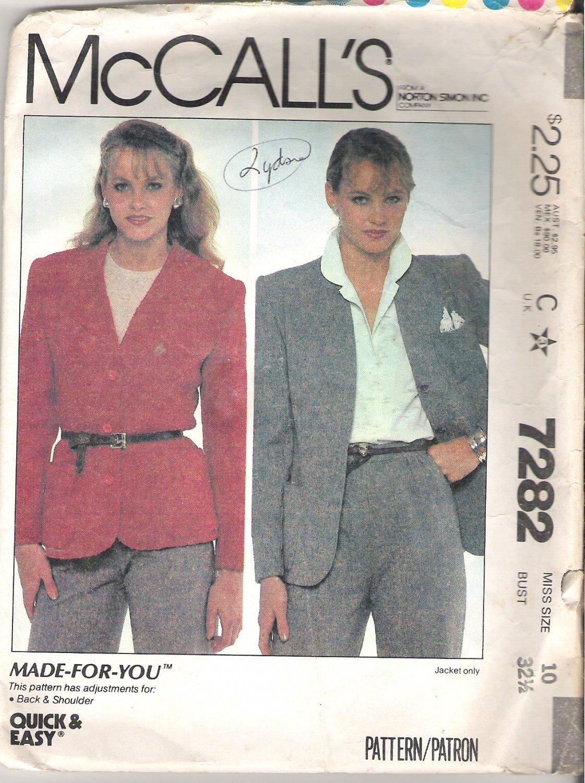 McCalls 7282 (1980) Pattern Cardigan Jacket  Size 10  Cut