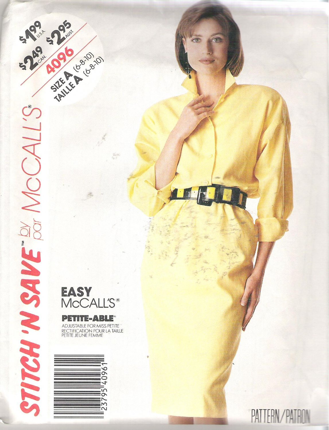 McCalls 4096 (1989) Easy Petite-able Pattern Pullover Dress  Size 6-10  Uncut