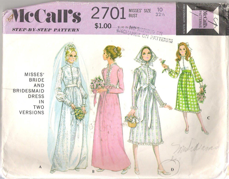 McCalls 2701 (1970) Vintage Pattern Wedding and Bridesmaid Dresses  Size 10  Partial Cut