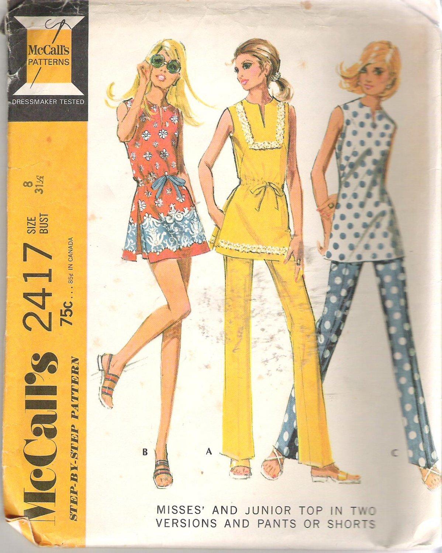 McCalls 2417 (1970) Vintage Pattern Junior Tops Pants Shorts  Size 8  Uncut