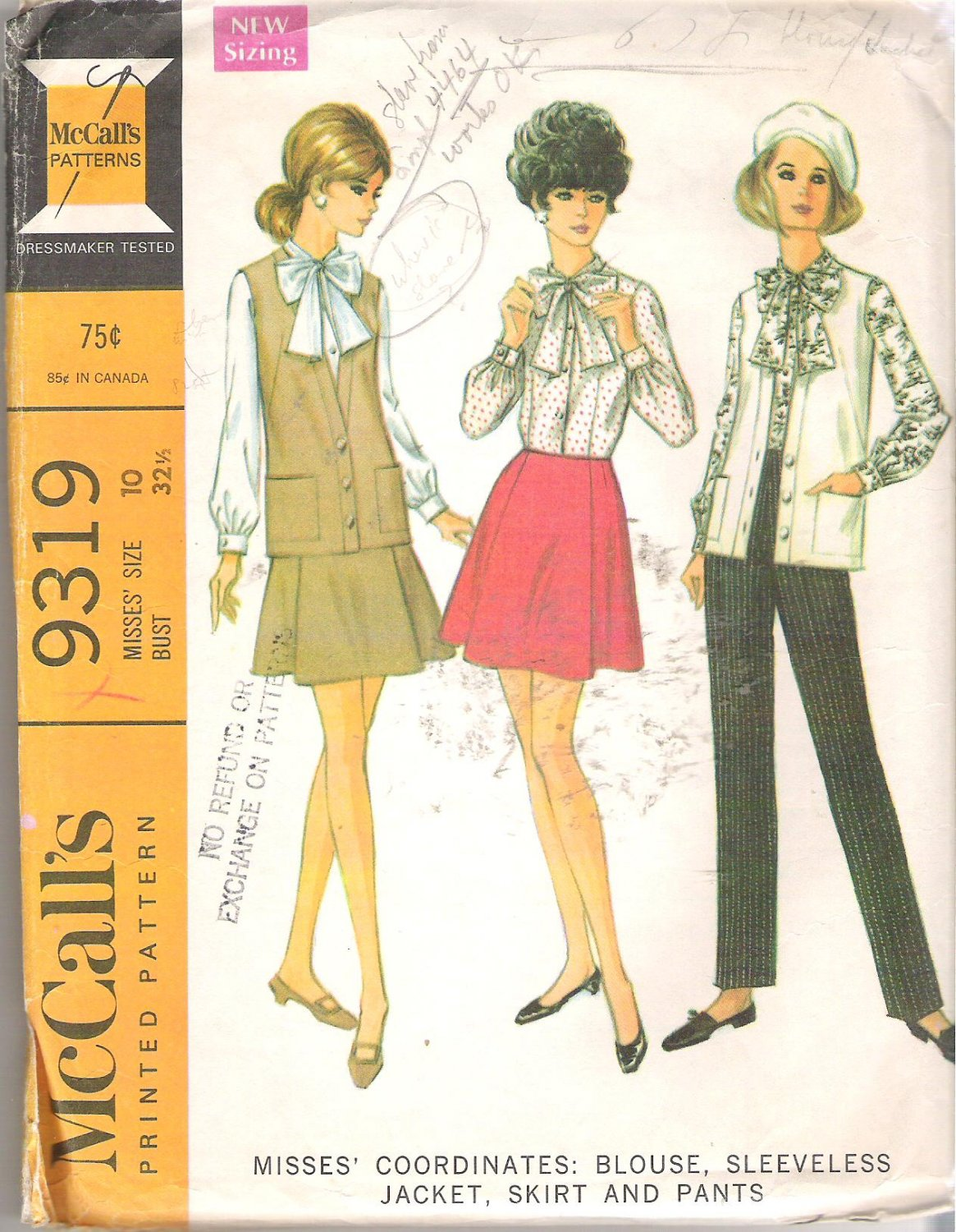 McCalls 9319 (1968) Vintage Pattern Blouse Sleeveless Jacket Skirt Pants  Size 10 Partial Cut
