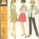 McCalls 9319 (1968) Vintage Pattern Blouse Sleeveless Jacket Skirt Pants  Size 10 Partial Cut