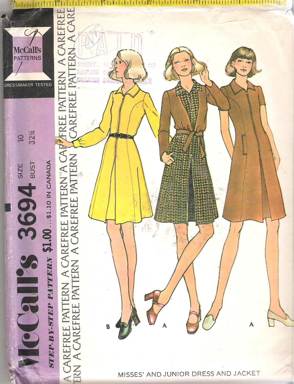 McCalls 3694 (1973) Pattern Misses and Junior Dress Tie Waist Jacket  Size 10  Uncut