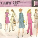 McCalls 2897 (1971) Vintage Pattern Dress Tunic Pants  Size 10  Cut
