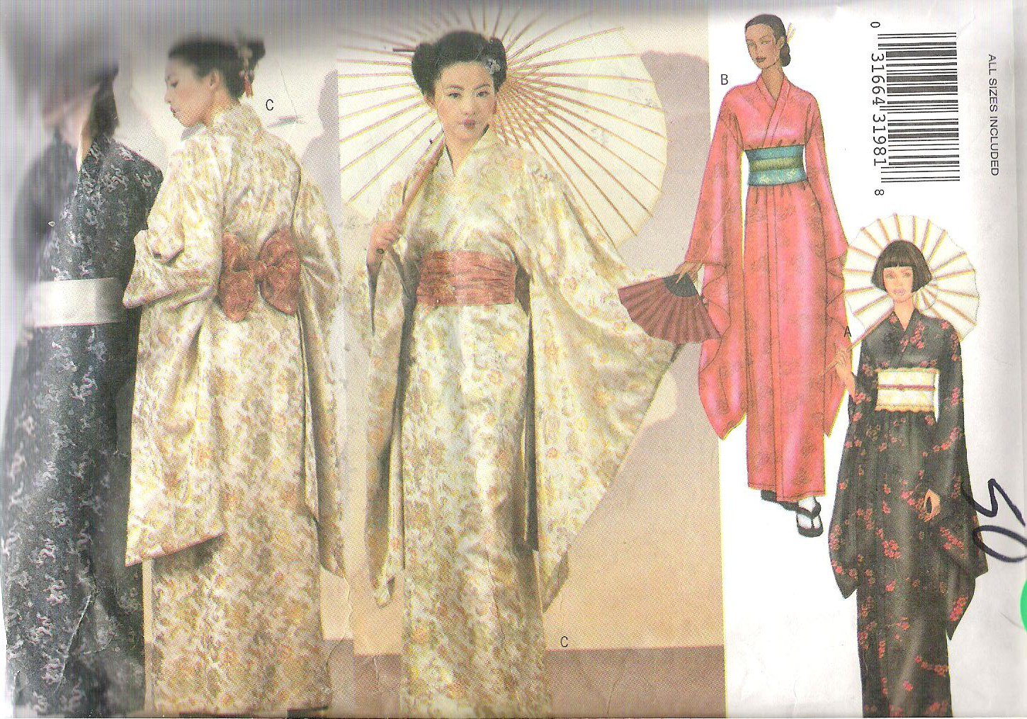 Butterick 6698 Pattern Japanese Robe Obi and Sash All Sizes Included Cut to Small