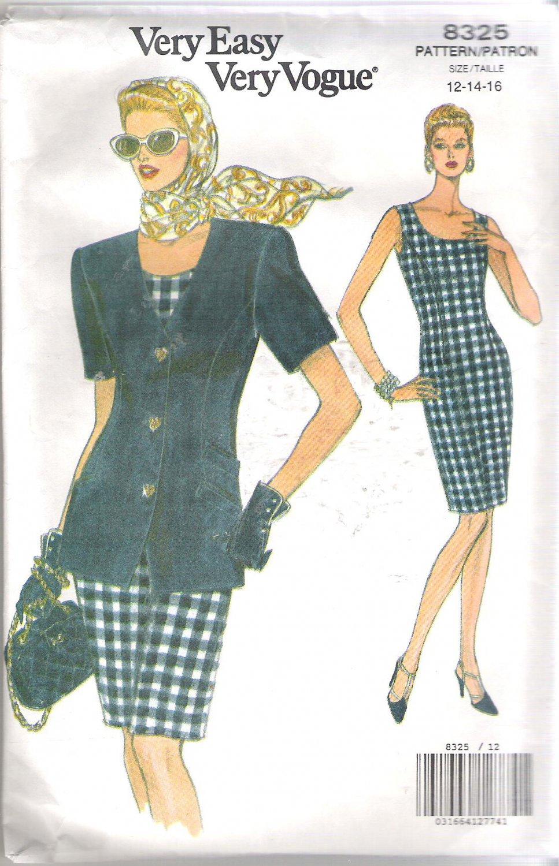 Vogue 8325 (1992) Pattern Misses/Petite Short Sleeve Jacket Scoop Neck Dress Size 12-16  Uncut