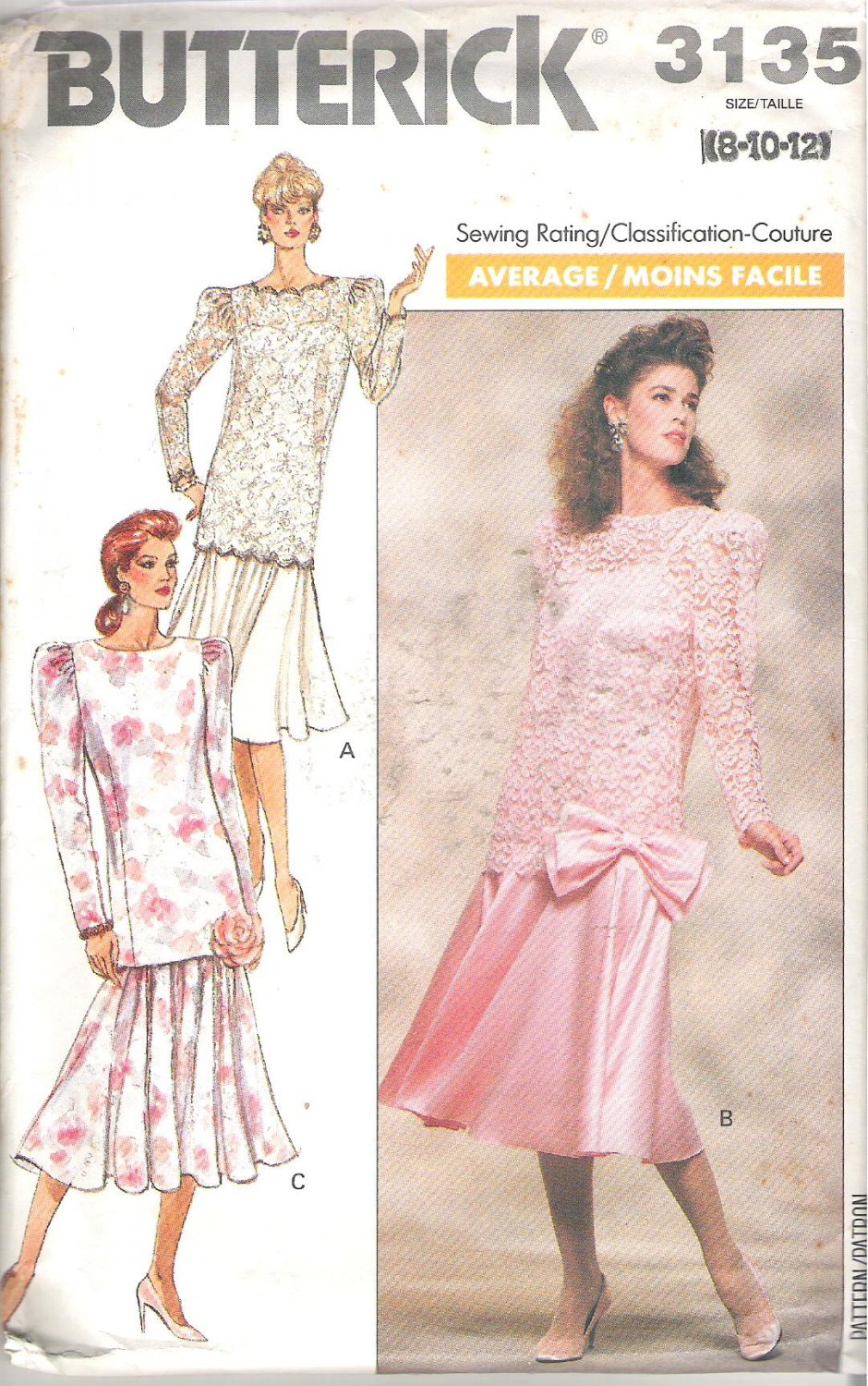 Butterick 3135 (1989) Pattern Misses/Petite Shoulder Strap Dress Top Overlay Size 8-12 Cut to 12