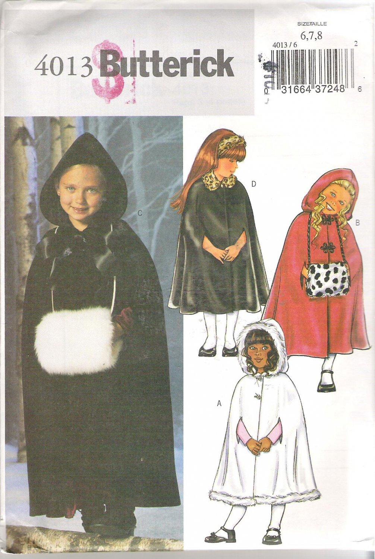 Butterick 4013 (2003) Pattern Childrens Girls Cape Coat  Muff Headband Size 6-8  Uncut