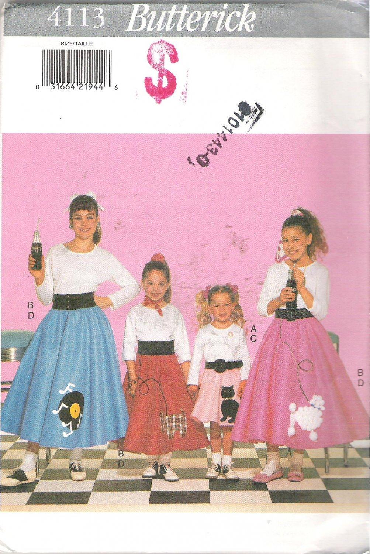 Butterick 4113 (2001) Pattern Childs Girls 1950's Skirt Petticoat Costume Size XS-L 4-14 Uncut