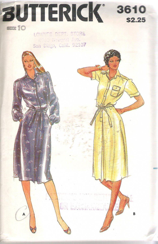 Butterick 3610 Pattern Long Short Sleeve Front Button Dress Size 10 Part Cut