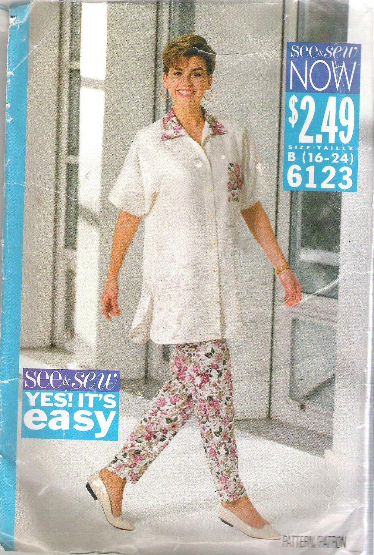 Butterick 6123 (1992) Pattern Long Shirt Top Tapered Pants Size 16-24 CUT