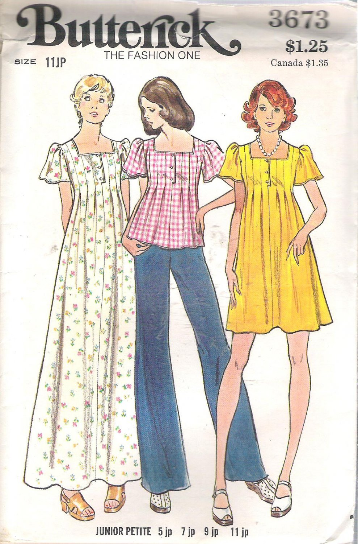 Butterick 3673 Vintage Pattern Girls Junior Petite Long Short Dress Top Tucks Pleats  Size 11 Uncut
