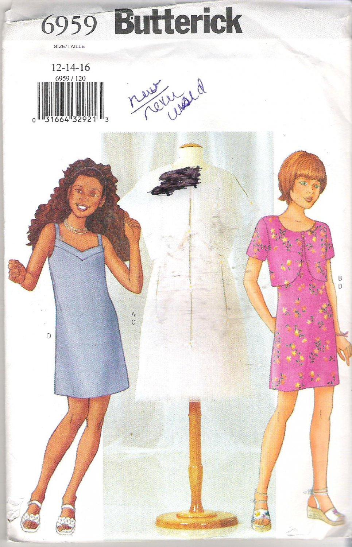 Butterick 6959 (2000) Pattern Girls Jacket Shoulder Strap Dress  Size 12-16  Uncut