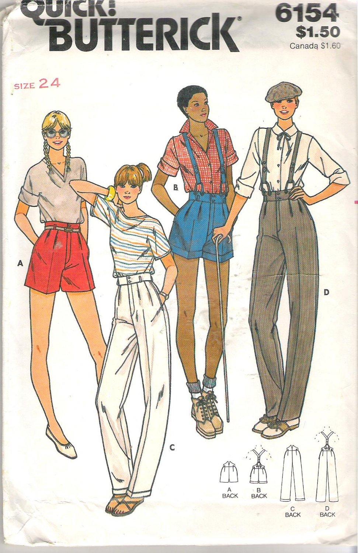 Butterick 6154 Pattern Shorts Pants Suspenders Wide Waistband Mock Fly Size 24 Waist Cut