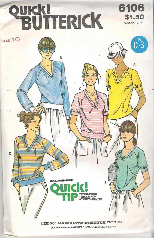 Butterick 6106 Pattern Gathered V-Neck T-Shirt Drawstring or Band Waist Size 10 Cut