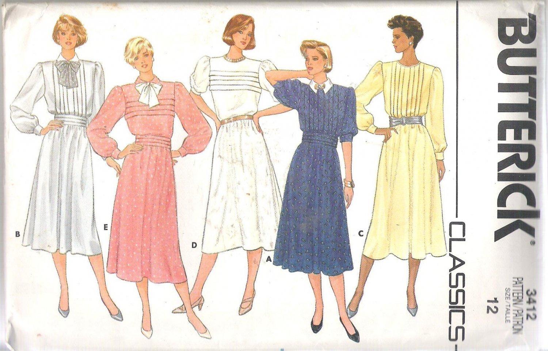 Butterick 3412 (1985) Classic Pattern Front Tuck Variations Dress Cummerbund Size 12 Part Cut