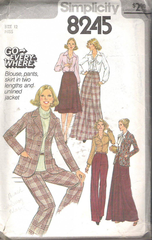 Simplicity 8245 (1977) Vintage Pattern Blouse Pants Long Short Skirt Unlined Jacket Size 12 Part Cut
