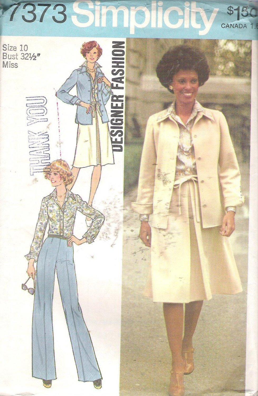 Simplicity 7373 (1976) Vintage Pattern Pants Skirt Tie Belt Shirt Jacket Size 10 Part Cut