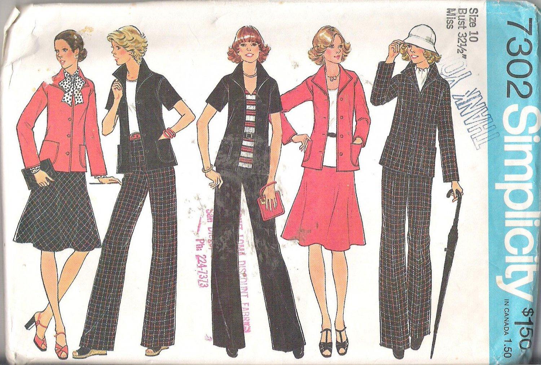 Simplicity 7302 (1975) Vintage Pattern Unlined Jacket Wide Leg Pants Bias Skirt  Size 10 Part Cut
