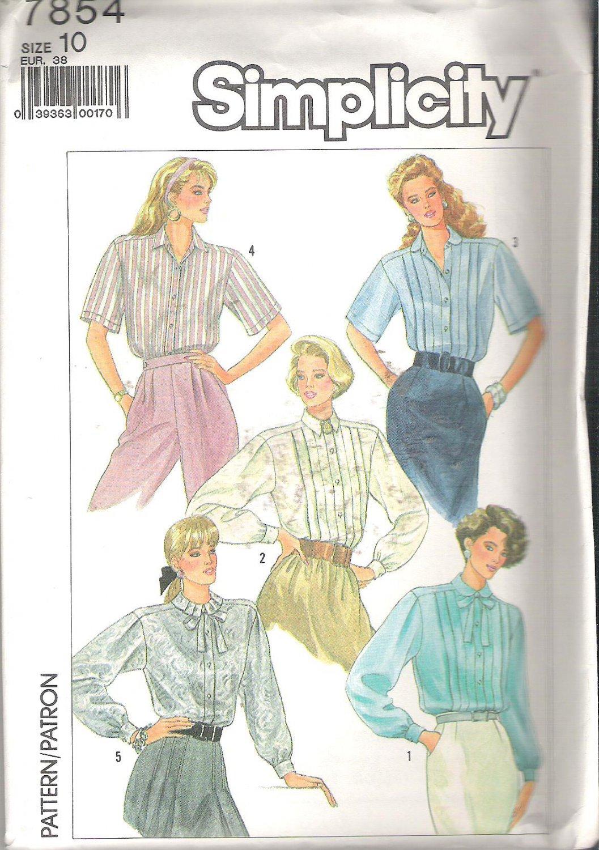 Simplicity 7854 (1986) Pattern Blouses Pleated to Yoke  Size 10 Uncut
