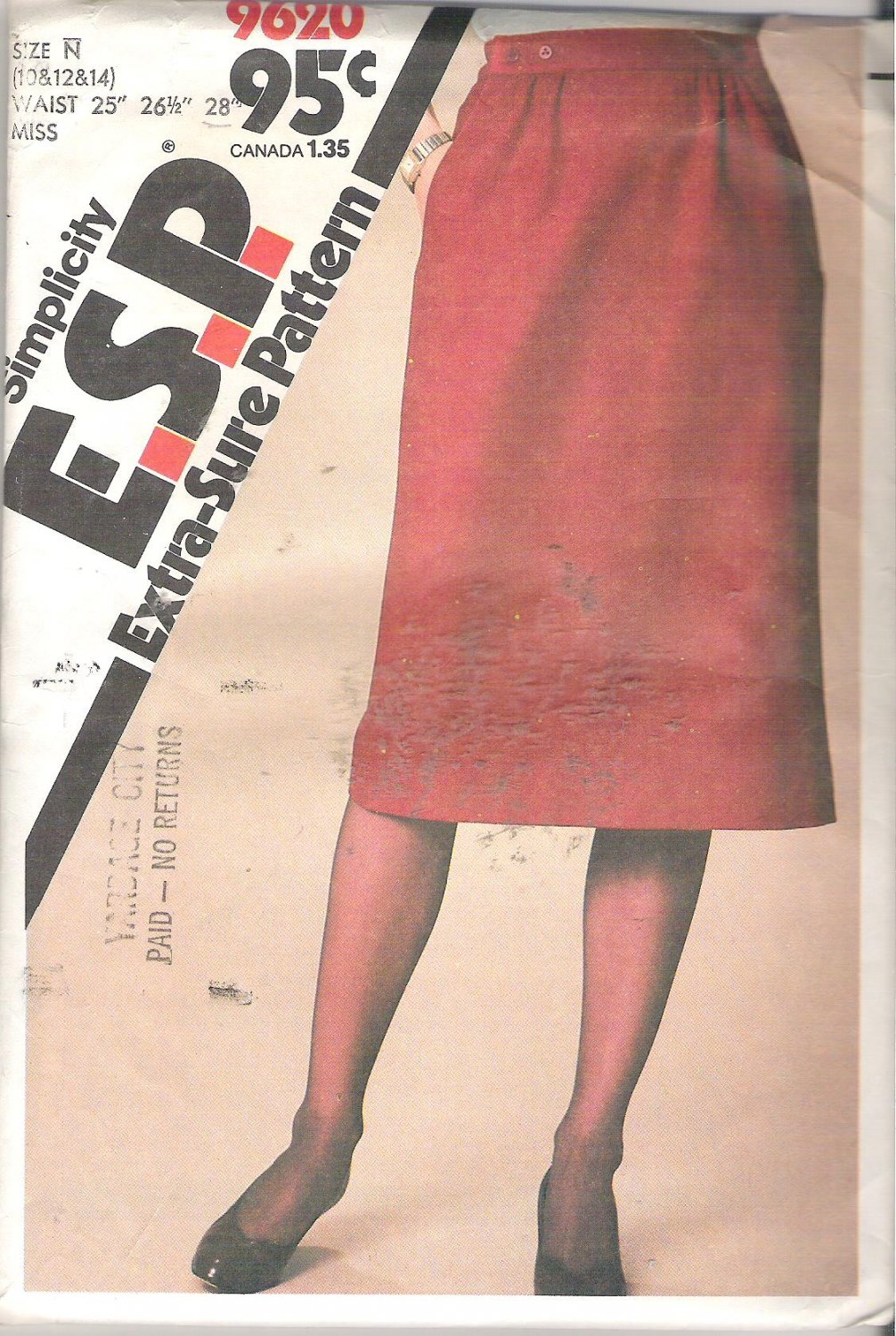 Simplicity 9620 (1980) Pattern Extra-Sure Pattern Straight Skirt  Size 10-14 Uncut