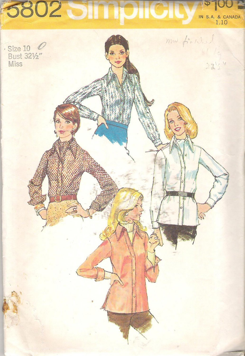 Simplicity 5802 (1973) Vintage Pattern Shirt and Ascot Tie  Size 10  Part Cut