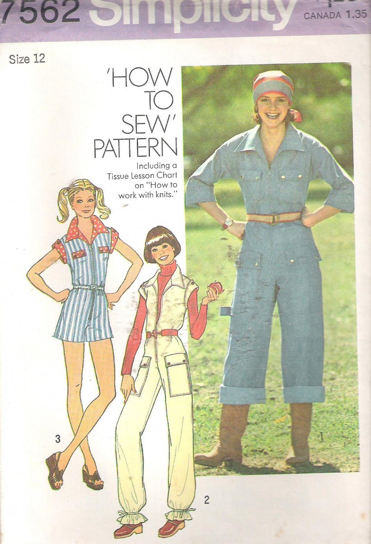"Simplicity 7562 (1976) Vintage ""How to Sew"" Pattern Jumpsuit Size 12 Uncut"
