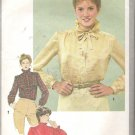 Simplicity 9713 (1980) Pattern Blouse Detachable Jabot Stand-up Ruffle Collar Size 12 Part Cut
