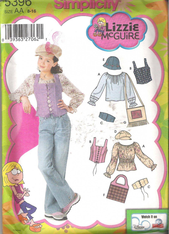 Simplicity 5396 (2003) Pattern Girls Plus Peasant Blouse Corset Vest Belts Hats Bags 8-16 Uncut