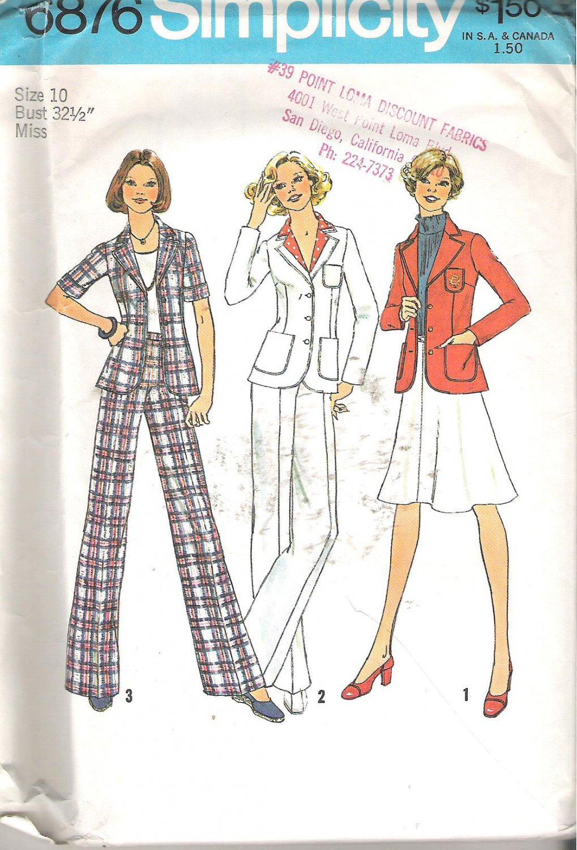 Simplicity 6876 (1975) Vintage Pattern Unlined Jacket Wide Leg Pants Skirt Size 10 Uncut
