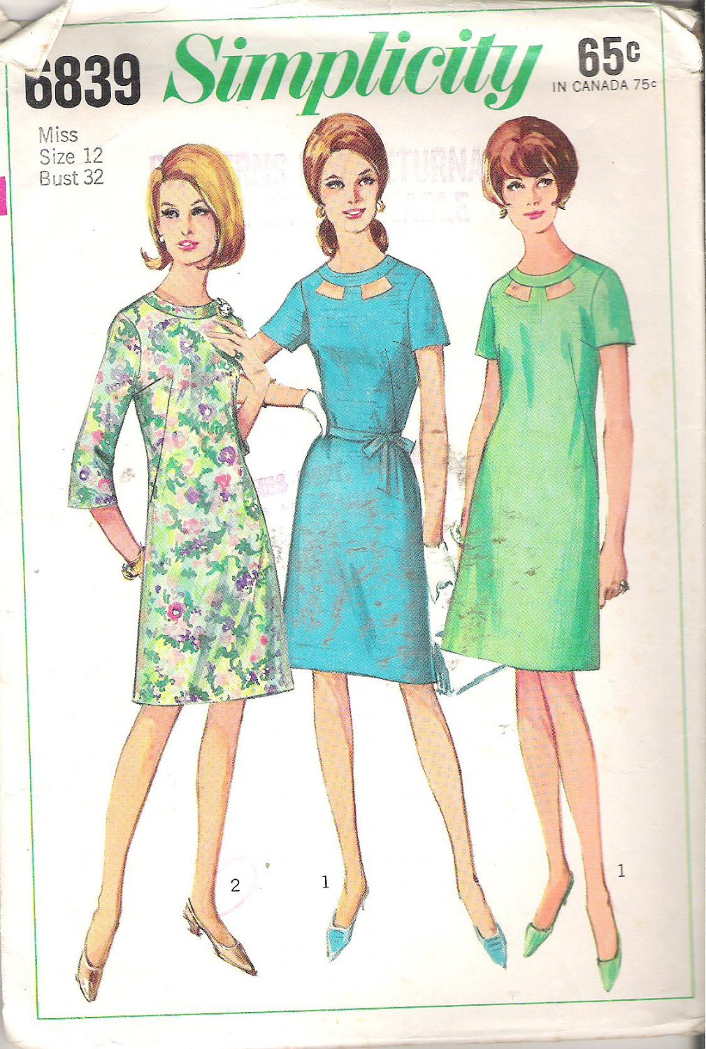 Simplicity 6839 (1966) Vintage Pattern A-line Dress High Neck Peek-a-Boo Band Size 12 Cut