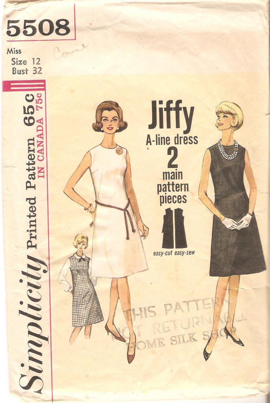 Simplicity 5508 (1964) Vintage Pattern Jiffy A-line Dress Jumper Size 12 Cut