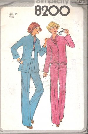 Simplicity 8200 (1977) Vintage Pattern Pants Unlined Jacket Blouson Jacket Size 10 Cut