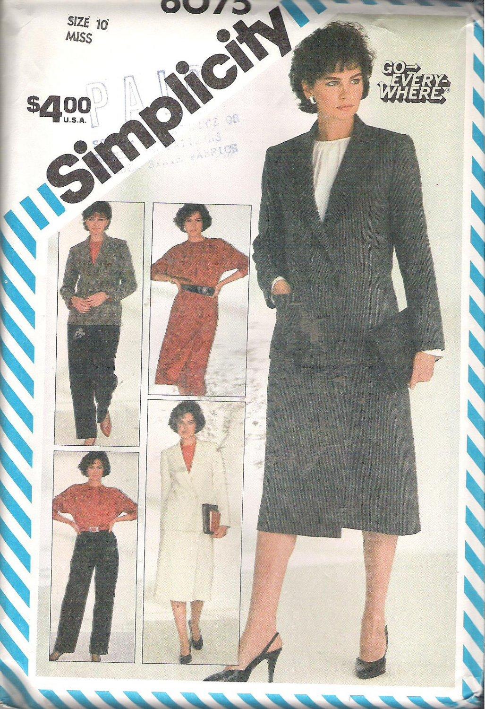 Simplicity 6075 (1983) Vintage Pattern Pants Wrap Skirt Pullover Blouse Lined Jacket Size 10 Uncut