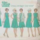 Simplicity 7360 (1976) Vintage Pattern Dress, Cardigan, Scarf Size 10 1/2- 12 1/2 Part Cut