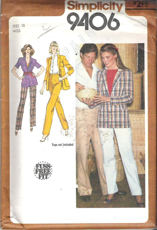 Simplicity 9406 (1980) Vintage Pattern Straight Leg Pants Unlined Jacket Size 10 Uncut